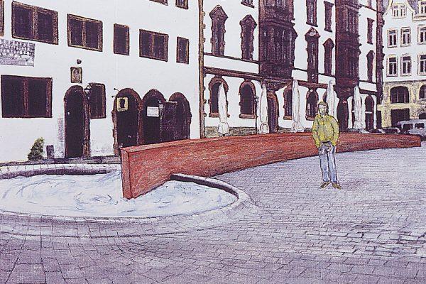 Brunnenentwurf von Architekten Weis & Volkmann mit der Künstlergruppe solitaire FACTORY, 1998