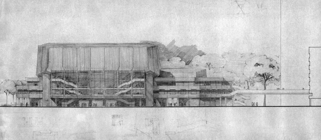 Wettbewerbsbeitrag für das Neue Gewandhaus von Winfried Sziegoleit vom März 1976
