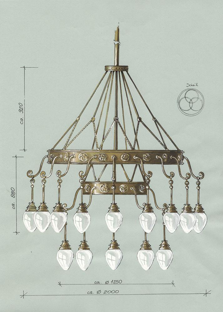 Rekonstruktionszeichnung der Designerin Annette Jacob aus Leipzig für einen neoromanischen Radleuchter