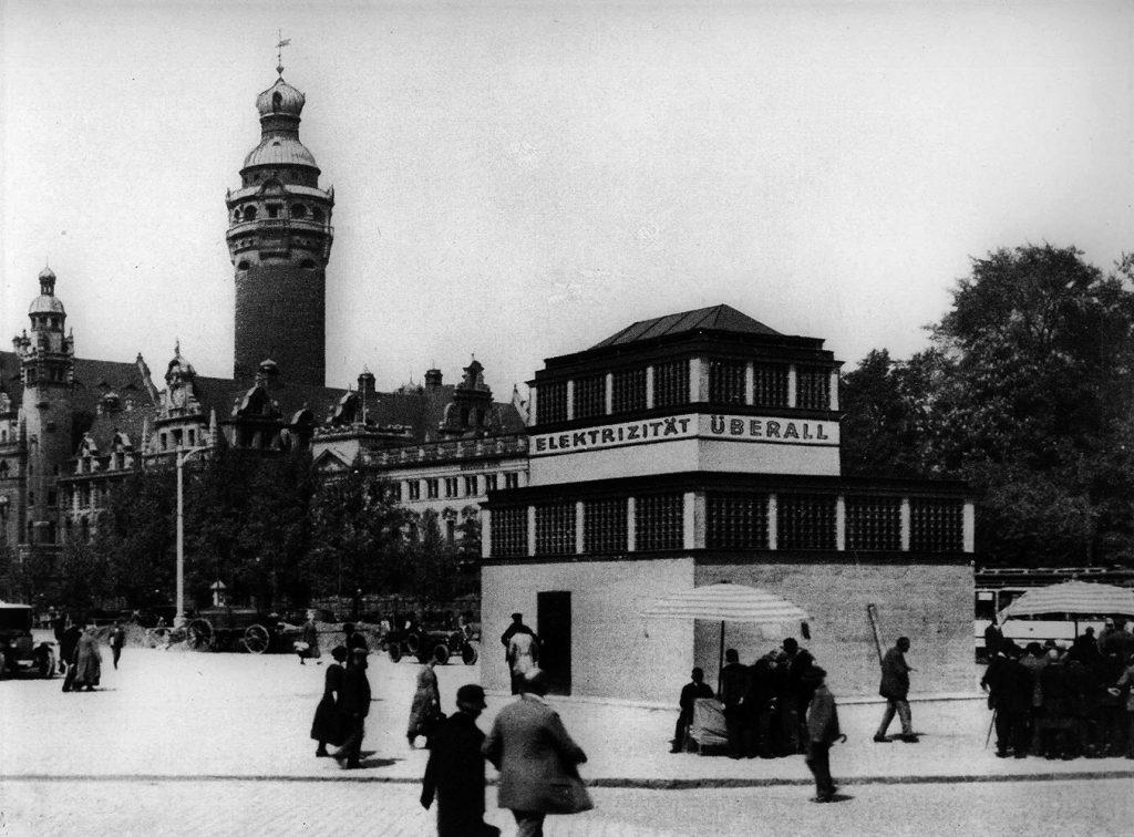 Das Umformwerk am heutigen Wilhelm-Leuschner-Platz, 1925/26 erbaut. Es diente der stabilen Gleichstromversorgung der Innenstadt.
