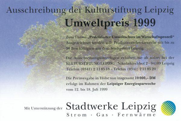 """Umweltpreis 1999, Thema """"Praktizierter Umweltschutz im Wirtschaftsprozeß"""""""