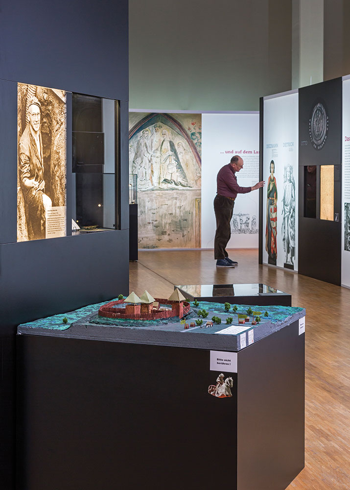 """Das Modell der urbs libzi in der Ausstellung """"1015. Leipzig von Anfang an"""""""