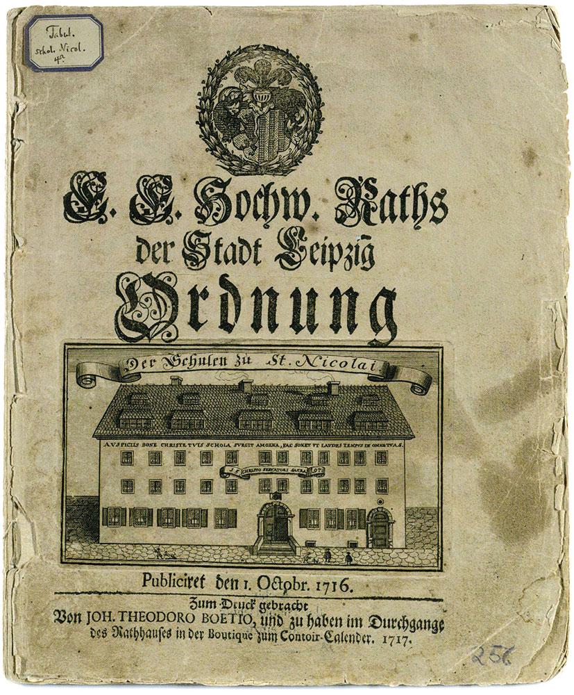 Titelblatt der Ratsschulordnung der Nikolaischule aus dem Jahr 1716